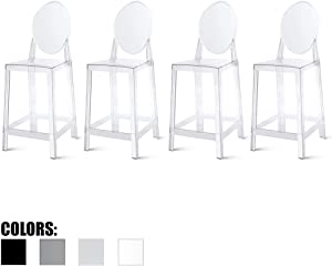 """2xhome Set of Four (4) - 25"""" Seat Height Barstool Modern Ghost Side Bar Stool Counter Stool - Accent Stool - Lounge No Arms Armless Arm Less Chairs Seats Mid Century Design (Clear)"""