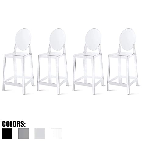 Excellent 2Xhome Set Of Four 4 25 Seat Height Barstool Modern Ghost Side Bar Stool Counter Stool Accent Stool Lounge No Arms Armless Arm Less Chairs Unemploymentrelief Wooden Chair Designs For Living Room Unemploymentrelieforg