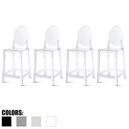 2xhome Set of Four 4 – 25 Seat Height Barstool Modern Ghost Side Bar Stool Counter Stool – Accent Stool – Lounge No Arms Armless Arm Less Chairs Seats Mid Century Design Clear