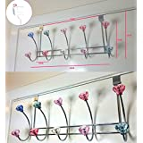 10 Hooks Chrome Crystal Over The Door Coat Hanger Clothes Towel Rack Washroom by FunkyBuys