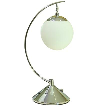 Lámparas de Mesa Plateada de Bola de Cristal mesita de Noche ...