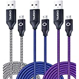 OKRAY 3 Pack 10ft / 3m Durable Nylon Braided Tangle-Free Micro 2.0 USB Charging Cable Charge Cord with Aluminum Connectors for Android, Samsung, HTC, Nokia, Sony, Nexus, LG (Black Blue Purple)