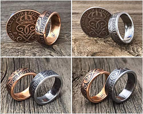 Swedish Coin Rings. Sweden 5 Öre - Steel or Bronze - Sverige Suecia - Myntringar