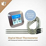 Color Instant Read Digital Meat Thermometer | 3 Waterproof Stainless Steel Temperature Probes