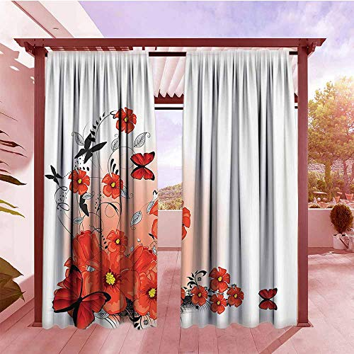 Pomegranate 108 - Rod Pocket Pattern Curtains Poppy Decor Floral Flash Background with Butterflies Spring Season Hope and Inspiration Theme Energy Efficient, Darkening W84x108L Pomegranate Black