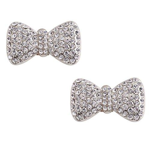 ElegantPark CF 2 Pcs Shoe Clips Crystal Butterfly Design Wedding Party Decoration Silver ()