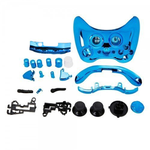SODIAL(R) Blue Chrome Custom Wireless Controller Replacement Shell Case Kit for Xbox 360