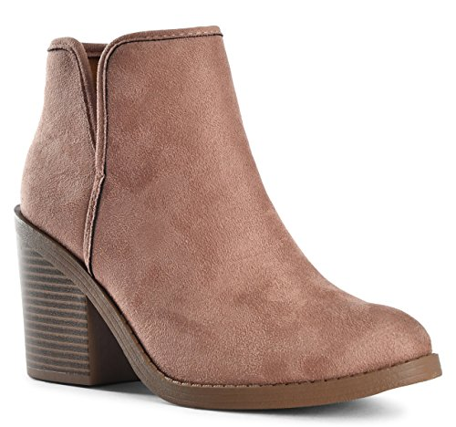 Womens Lydia Perforated Laser Cut Out Stacked Chunky Block High Heel Ankle Bootie Boots Dark Blush SU 5.5