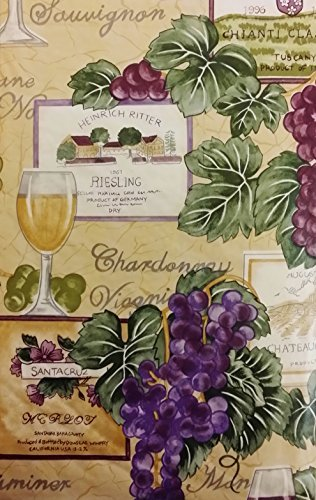 Tuscan Themed Vinyl Flannel BackTablecloths - Wine and Grapes (52