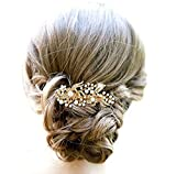 Kercisbeauty Bridal Bridesmaid Flower Pearl Beads Gold Hair Comb Slide Head piece for Prom,Bun hair Accessory