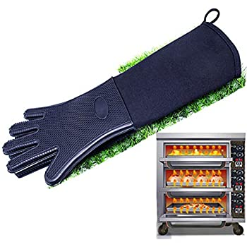 1PC Oven Gloves, Heat Resistant Silicone Kitchen Gloves, Soft Insulated Non-Slip Long Baking Mitts with Quilted Cotton Liner for Grilling Cooking BBQ (20inch Long,Black)