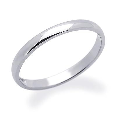 Pequeños Tesoros - Anillo de mujer - de oro blanco (14k) Anillo De Matrimonio 2MM Llanura de ajuste cómodo: Amazon.es: Joyería