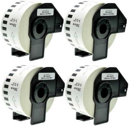 Logic-Seek 4X Endlos-Etikett kompatibel für Brother DK22225 38mm x 30,48m P-Touch QL-1050 1060N 500 550 560 570 580 700 500 A BS BW 560 VP YX 580N 650TD 710W 720NW