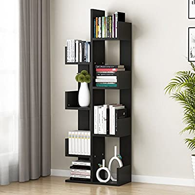 Tribesigns 8-Shelf Tree Bookshelf, Modern Bookcase Book Rack Display Storage Organizer Shelves for CDs, Records, Books, Home Office Deco (Black) - 【MULTIPLE USAGE & FIT FOR VARIOUS SPACE】This tree shaped shelf can be used as a book case, storage shelf, room divider, flower rack in living room, bedroom, kids room, can be also used in the office for storage and display. Contemporary design allows it to easily complement your homes and office decor. 【8 TIERS SHELVES & ABUNDANT STORAGE SPACE】This display rack allows a large storage area for your multiple items, books, magazines, toys, photo frames, plants, and artworks. 【SECURE SIDE & BACK BOARD DESIGN】Side shelves prevent items from falling down while strengthened back boards and base board ensure a better load-bearing and stability, won't tilt or swing easily. Weights 37lbs, each shelves can support up to 25 lbs. - living-room-furniture, living-room, bookcases-bookshelves - 51xYqGqaj3L. SS400  -