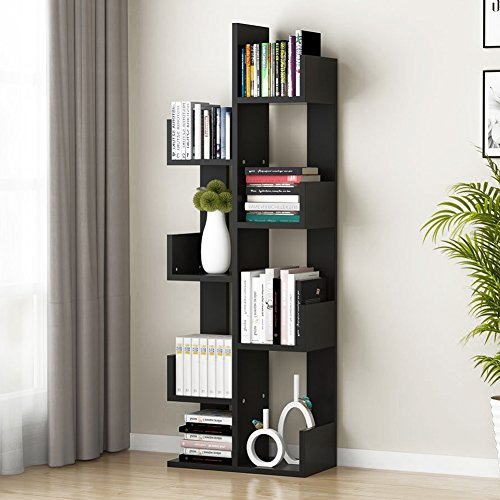 - Tribesigns 8-Shelf Tree Bookshelf, Modern Bookcase Book Rack Display Storage Organizer Shelves for CDs, Records, Books, Home Office Deco (Black)
