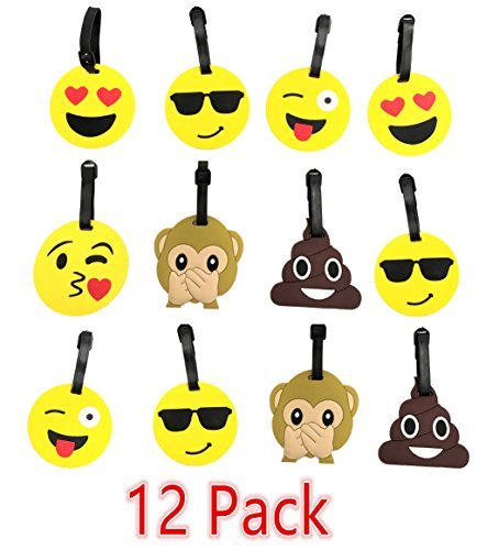 Q's EMOJI Travel Luggage Label Tag travel accessories Silicone Identifier Label Holders...
