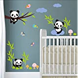 Forest Panda bamboo Birds tree Wall Stickers For Kids room baby Nursery Room decor animals Wall decals mural art