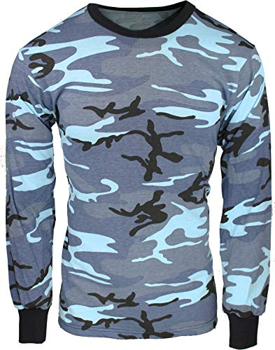 (Army Universe Sky Blue Camouflage Long Sleeve Military T-Shirt Pin - Size Medium (37