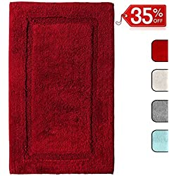 """QltyFrst Bathroom Rugs Non-Skid 100% Premium Cotton 1900 GSM Size 21""""x34"""" Bath Mat Luxurious Area Rug Extra Plush Absorbent Red"""