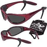 Hercules Safety Glasses ''Plus'' - Foam Padded - Rubber Ear Locks - RED Frame - GREY Lenses