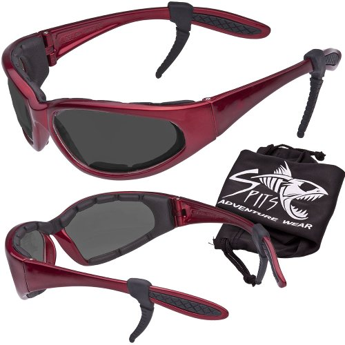 Hercules Safety Glasses ''Plus'' - Foam Padded - Rubber Ear Locks - RED Frame - GREY Lenses by Spits Eyewear