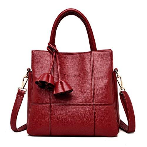 Red Borsette Tracolla Borse Fiori donne solido PU Vintage pelle donne infiorescenza in staminifera morbide Messenger femmina 27x13x26cm borsa marrone UAwIA1fq