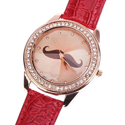 Reloj Diamante la mode a la Mode (falso) decoración barba cuarzo con PU banda