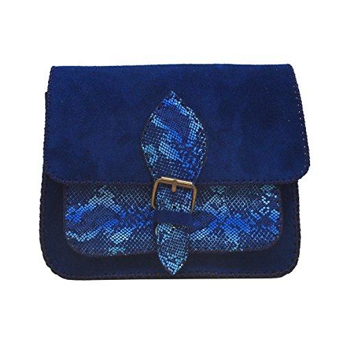 Koson Leather océano azul genuino de vaca de cuero hecha a mano satchel hombro fiesta del festival cada día bolsa de mensajero