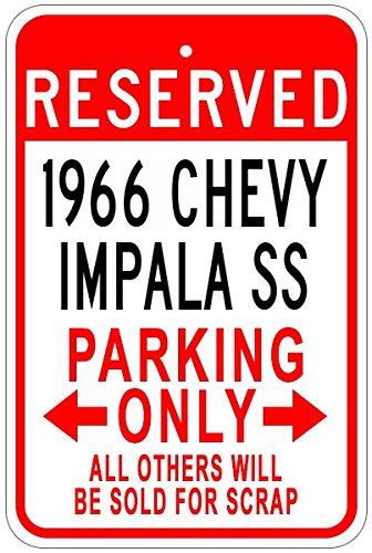 1966 66 CHEVY IMPALA SS Aluminum Parking Sign - 10 x 14 (Chevy Impala Sign)