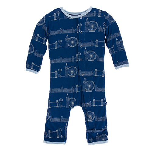 Kickee Pants Little Boys Print Coverall with Snaps - London Cityscape, 0-3 Months