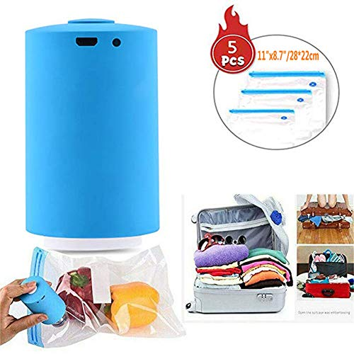 Mini Automatic Compression Vacuum Pump Sealer System Portable Electric Air Pump Rechargeable Multi-Functional Vacuum Pump for Travel (Blue) ()
