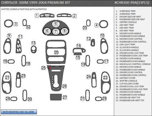 CHRYSLER 300M 300 M 2000 2001 2002 2003 2004 INTERIOR WOOD DASH TRIM KIT - Dash Wood Kit Chrysler 300