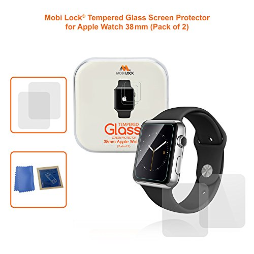 Mobi Lock Premium 38mm Tempered Glass and Anti-Fingerprint / Scratch-Proof Screen Protector for Apple Watch version 1 / 2 / 3 (Pack of (022 Watch)
