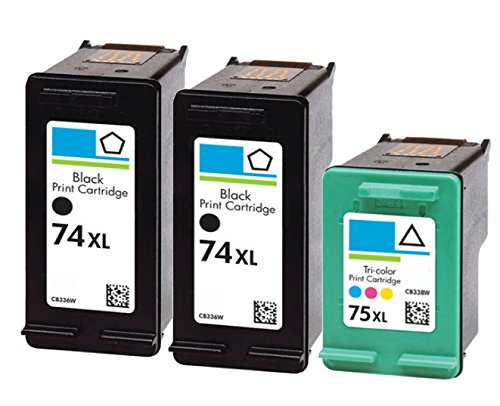 HouseOfToners Ink Cartridge Replacement for HP 74XL & 75XL (2 Black & 1 Color, 3-Pack)