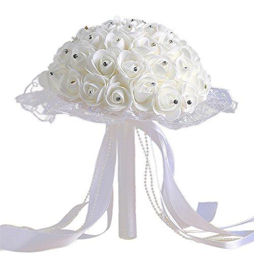 Jonerytime❤️Crystal Roses Pearl Bridesmaid Wedding Bouquet Bridal Artificial Silk Flowers (E)