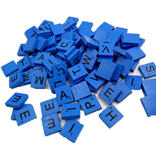 100 Wooden Alphabets Block Set, Scrabble Tiles A-Z (All Letters Include) Capital Mixed Letters Numbers For Crafts Packed Safely in Bubble Bag (Blue) ()