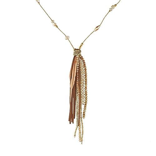 4a8f712be49e LuckyLy – Collares de Mujer Largos – Collar Mujer Camille – Plumas y Piedras  Estilo Swarovski