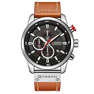 Mens Water Resistant Sport Chronograph Watches Military Multifunction Leather Quartz Wrist Watches (silver black)
