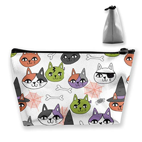 Double Y Cute Halloween Cat Women Cosmetic Bags Portable Pouch Trapezoidal Storage Bag Travel Bag with Zipper ()