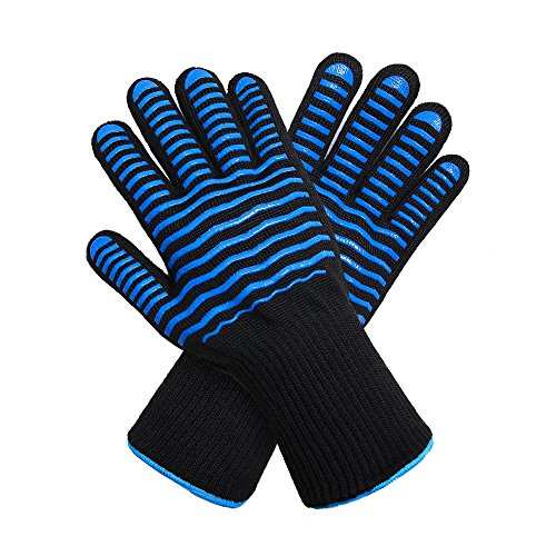 YJH BBQ Oven Gloves | Best Versatile Heat Resistant Grill Gloves Heat Resistant BBQ Gloves. Wrist Protection.Food Grade Silicone& Cotton Lining. Mitts for Cooking, BBQ, Frying & Baking. by YJH