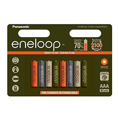 Panasonic Eneloop Rechargeable AAA Expedition Batteries. 750mAh, NiMH Ready to Use Rechargeable Battery. Charge 2,100 times - Limited Edition 8 Pack.