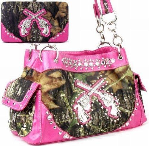 Camouflage Womens Handbag (Western Crossed Guns Purse Camouflage Handbag Camo W Matching Wallet (Pink))