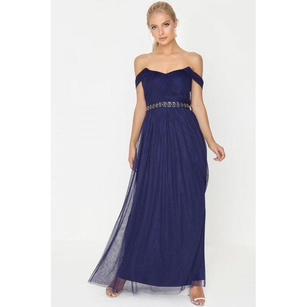 Little Mistress - Vestido largo en color azul marino con ornamentación de pedrería en la cintura para mujer: Amazon.es: Ropa y accesorios