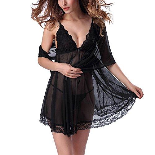 Sra de verano de tres piezas de ropa interior ropa interior atractiva Black