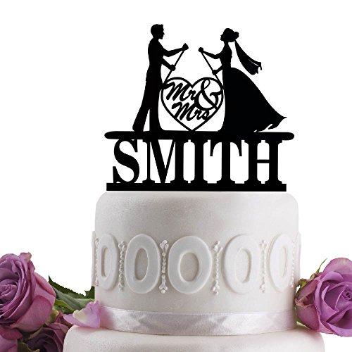 Groom Bride Paddle Board Personalized Wedding Cake Topper Last Name Date Black
