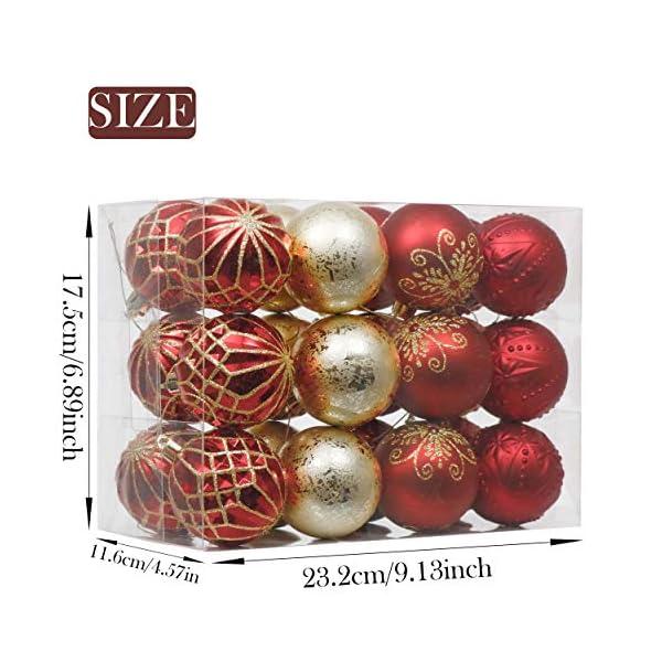 Valery Madelyn Palle di Natale 24 Pezzi 6cm Palline di Natale, Ornamenti di Palla di Natale Infrangibili di Lusso Rosso e Oro per la Decorazione Dell'Albero di Natale 2 spesavip