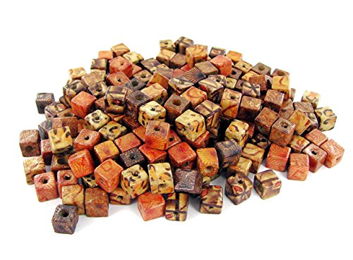 Linpeng 8x8mm Cube 2~3mm Hole, with Patterns-200pcs Printed Wood Beads with Free spacers and Charms