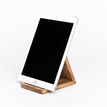 WOODS Tablet-Halterung aus Massiv-Holz I hochwertige Qualität handgefertigt  in Bayern I Stabiler Tablet-Ständer - geeignet für alle Modelle I Tablet ...