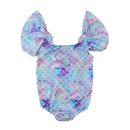 Ruffle Infant Piece One Swimsuit (Enhill Toddler Infant Baby Girls Shiny Fish Scales Ruffles Sleeve Swimsuit One Piece Swimwear (6-12 Months))