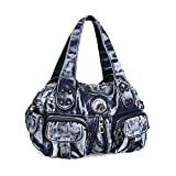Donalworld Women Vintage Denim Handbag Hobos Totes Pattern1